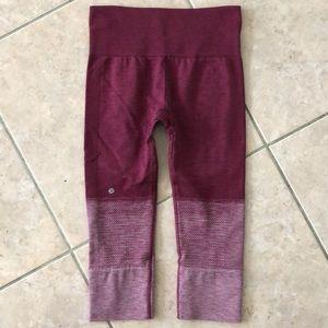 Lululemon burgundy ombré cropped leggings size 4